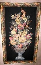 "EC black blue red beige flower vase rectangular tapestry 44"" X 25.5"" no rod"