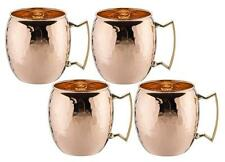Old Dutch OS429H 16 Oz Solid Copper Hammered Moscow Mule Mug Set of 4