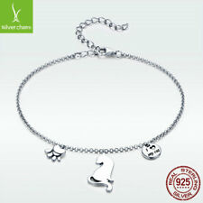 European 925 Sterling Silver Naughty Cat Bracelet I Love My Cat Adjustable Chain
