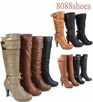 Women's Platform Zipper Buckle High Heel Mid Calf Knee High Boot  Size 5 -10 NEW