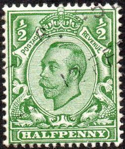 1912 Sg 339 N4/1 ½d green (T2, Crown, Die B) with Machine Cancellation