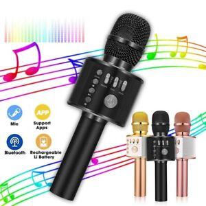Wireless Bluetooth Karaoke Microphone Speaker Handheld KTV Player Singing Mic UK