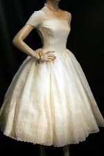XS Cream Embroidered Sheer Organza Satin Lining Vtg 50s Wedding Gown Prom Dress