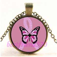 Vintage Breast Cancer Awareness Butterfly Glass Bronze Pendant Necklace#CE64