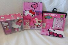 5 pc Sanrio Hello Kitty Fabric Shower Curtain, Towel & Accessories Set NIP