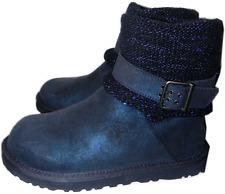 UGG Australia Cambridge Metallic Blue Suede Boot Belted & Knit Booties 6-37 SALE
