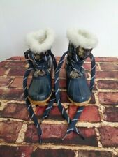 Sporto Original Duck Boots KIM Dark Green Brown Plaid Faux Fur Waterproof Size 6