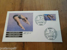 ALLEMAGNE FEDERALE RFA 1988, FDC SPORT, PLONGEON, OLYMPIC GAMES, timbre 1187