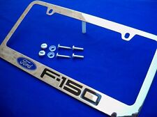 For Ford F150 F 150 Engraved Chrome Metal License Plate Frame W/ Logo Screw Caps