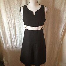 Donna Morgan Sz6 Linen Black Sleeveless Dress White Belted Waist Lined Button De