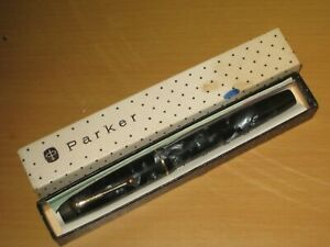 Antique Boxed Blue/Black Marbled Parker Victory Pen With 14ct Parker Gold Nib.