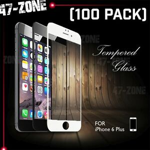 """For iPhone 6 6S Plus 5.5"""" FULL COVER Temper Glass Screen Protector Black 100PC"""