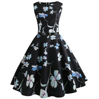 Women 1950S Vintage Retro Floral Swing Sleeveless Belt Cocktail Party Prom Dress