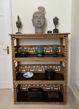 More details for antique 1920's chinese export bamboo wood book case display shelves 119x94x41cm