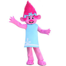Troll poppy pink Mascot Costume Adult Halloween BIRTHDAY Disney Girl Party USA