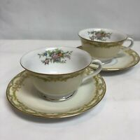 Noritake Fine China Vintage 2 Cup And Saucers Pair/set Footed Golden Trim Japan