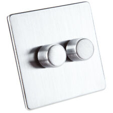 Crabtree Flat Dimmer Light Switch Face Plate - Stainless Steel - 2 Gang 2 Way