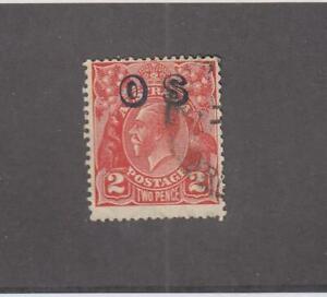 AUSTRALIA (MK6809) # O3  FVF-USED 2p 1932 KGV OFFICIAL STAMP O/PRINT /RED CV $13