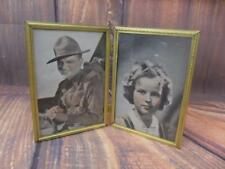 Vintage Shirley Temple James Cagney Gold Tone Metal Picture Frame Stock Photos
