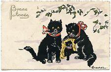 ILLUSTRATEUR. ARTIST SIGNED. CHATS NOIRS. BLACK CATS