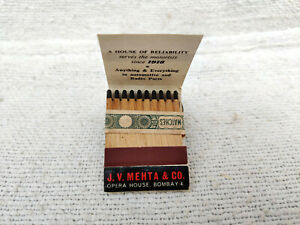 1950s Vintage J.V. Mehta & Co. Opera House Safety Matches Advertising Packed Box