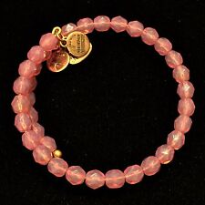 Alex and Ani Russian Vintage 66 Gold Tone Rose Pink Beaded Wrap Bangle Bracelet