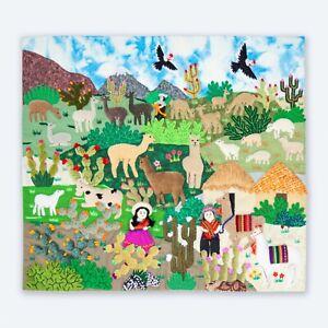 """Wall Hanging Quilt 19.7""""x17.7""""- Arpillera wall art work tapestrie - Fabric wall"""