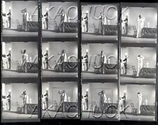 READY FOR BED? Busty Model Robe HENDRICKSON Negatives & Photo Contact Sheet D687