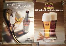 2 Vintage German Beer Paulaner & Eku Weizen Poster 2ftX16in. Munchener Bier Pils