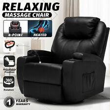 Recliner Chair Electric Massage Heated Chairs Lounge Swivel Sofa Black Leather