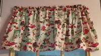 "Vintage Retro Red Olive Eggshell Curtain Valance Window  Cotton 43""W x 15""L"
