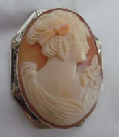 14KT INTRICATE CARVED SHELL CAMEO BROOCH/PENDANT WHITE GOLD FRAME