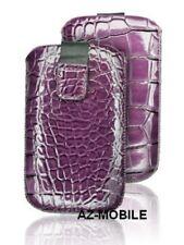 Wallet Case Cover Push Faux Leather Skin Croco Purple Lg (E460) L5 2