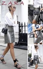 Zara Leather Metallic Blogger Sold Out Silver High Waisted Skirt NWT XS