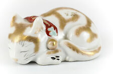 Japanese Porcelain Kutani Sleeping Cat Figurine 1st Half 20th Century; Gilt Red