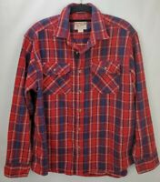 Woolrich Mens Flannel Long Sleeve Button Shirt Size XL Red Blue Plaid Cotton