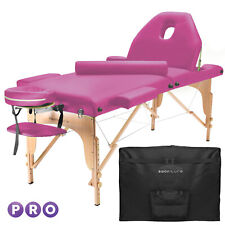 Portable Hot Pink Massage Table with Bolster and Tilt Backrest
