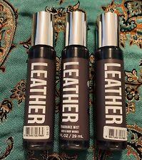 Bath & Body Works LEATHER 1oz / 29ml Travel Fragrance Mist Lot of 3