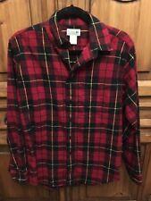 Men's L.L Bean Scotch Plaid Flannel Shirt Red Black Yellow S Reg NWOT