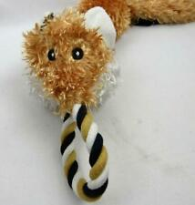 Brown Fox Dog Toy Squeaker Tug Rope 3 Ropes Twisted Tugger Plush Head New