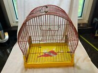 Vintage Hendryx Metal Dome Bird Cage Folk Art Garden Decor Yellow and Red