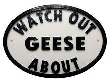 Watch Out Geese About - 3D Printed Plaque - House Door Gate Garden Sign Bird