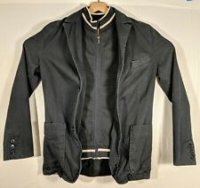 b17d7142 Zara Mens Black Bomber Jacket Full Buttons And Zipper Vintage Style Large