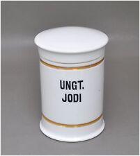 Altes Porzellan Apotherkergefäß UNGT. JODI Hodensalbe