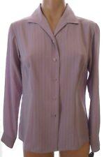 New Laura Scott Petite 6P button down long sleeve purple pinstriped blouse