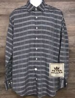 Peter Millar Men's Gray Plaid Long Sleeve Button Front Designer Shirt Large