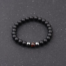 Men Charm 8mm Matte Onyx Hematite Red Tigers Eye Gemstone Beaded Bracelets