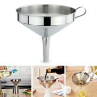 Stainless Steel Funnel Kitchen Oil Liquid Funnel Metal Funnel Detachable Filter.