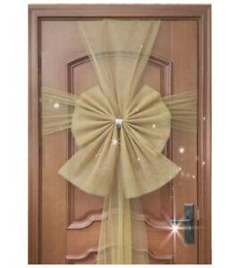 Xmas Door Bow Deluxe Full Wrap Double Wedding Decoration Traditional UK - GOLD