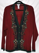 KORET Ladies Red and Green Sweater with Needle Point? Design  -  Sz XL